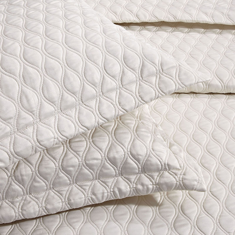 ivory geometric embroidery satin quilt covers