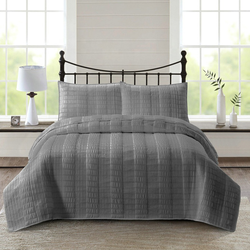 grey seersucker bedding set