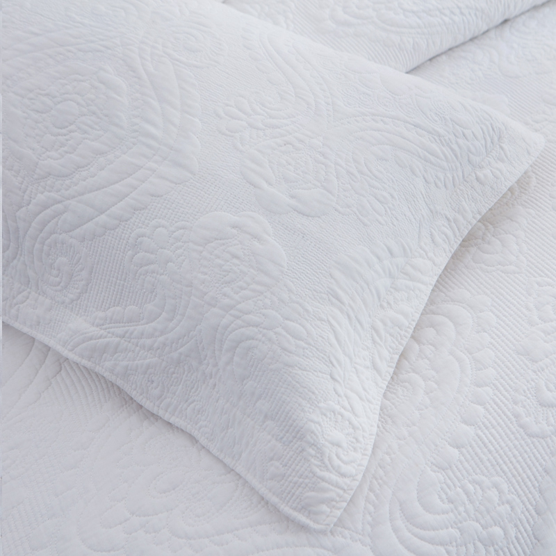 white damask embroidered quilt set