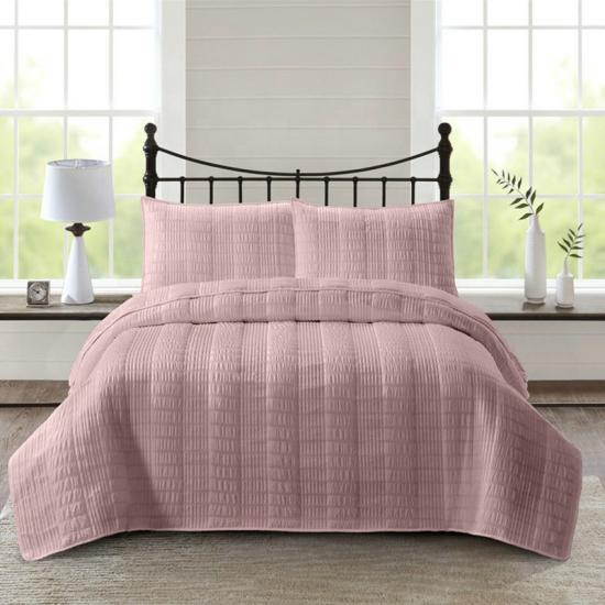 pink seersucker bedding