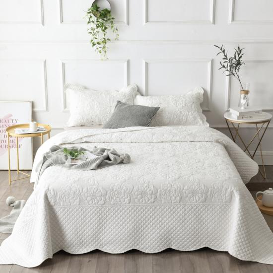 white and taupe embroidered quilt set