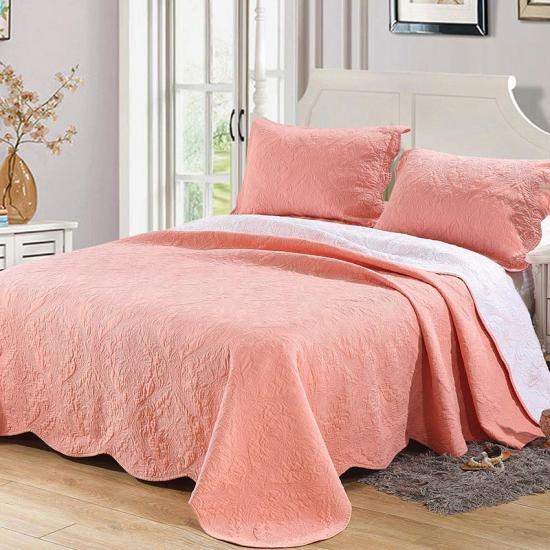 3 piece embroidered quilt coverlet set